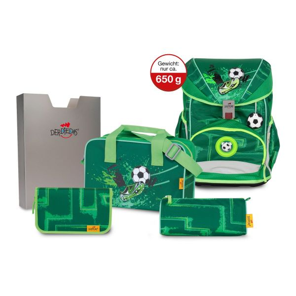 DerDieDas Schulrucksack-Set Ergoflex Superlight Green Goal