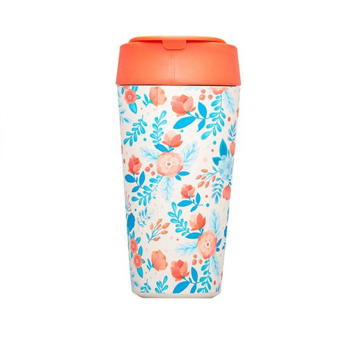 bioloco plant deluxe cup - red and blue flowers 420ml
