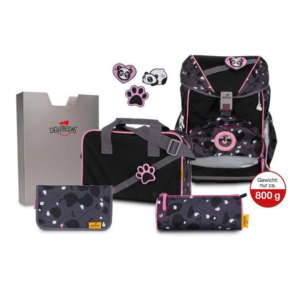 DerDieDas Schulrucksack-Set Ergoflex Buttons Pink Panda