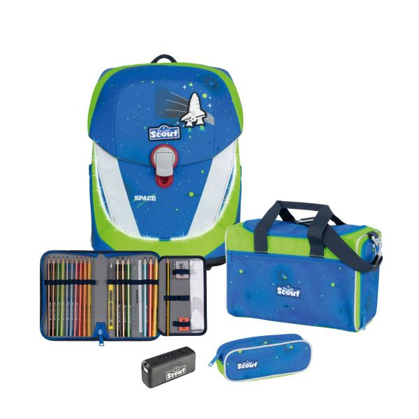 Scout Schulranzen-Set Sunny II Blue Space Safety Light 4tlg.