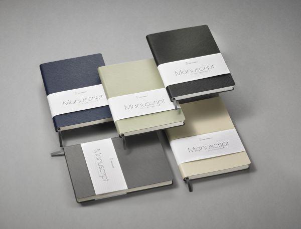 Hahnemühle Manuscript Notizbuch grau A5 recyceltes Leder 96 Blatt/192 Seiten dotted