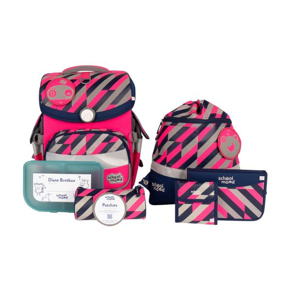 School Mood Schulranzen-Set Timeless Air Yuna Neon Pink 7tlg.