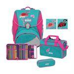 Scout Alpha Premium Glitter Flamingo Schulrucksack Set 4tlg.
